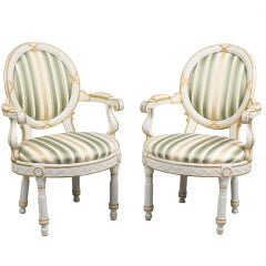 Pair of Danish 18th Century Neo-Classical White Painted Armchairs