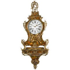 Seltene Französische Louis XV Vernis Martin Wandhalterung mit Uhr aus dem 18. Jahrhundert