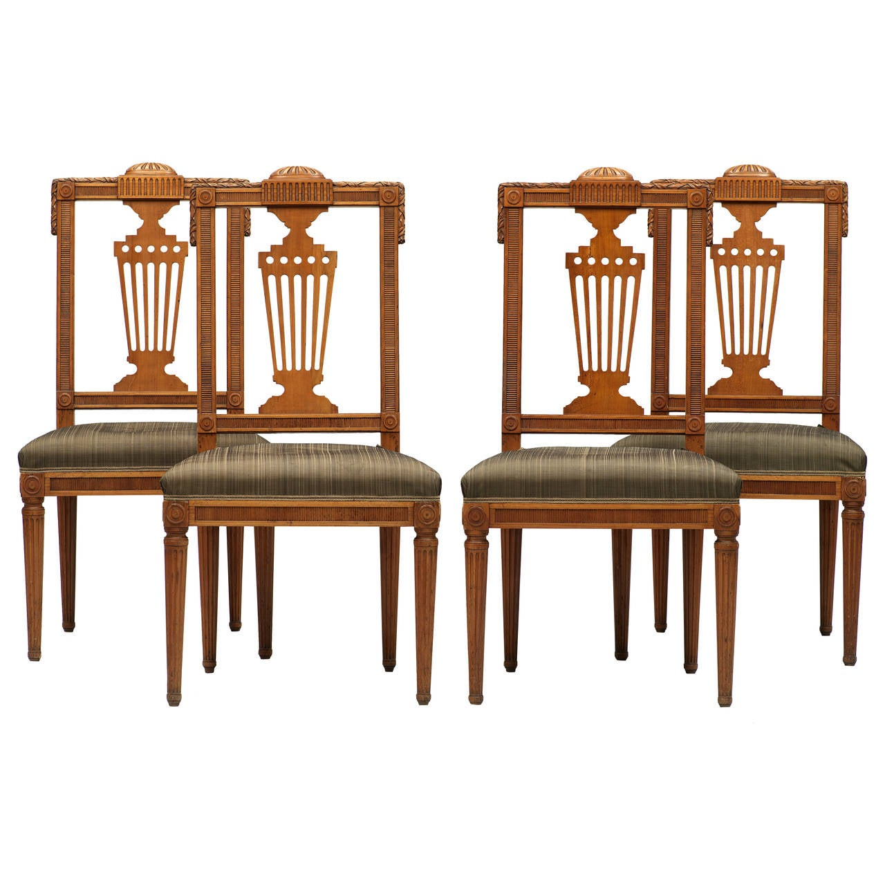 Set Of Four German Neoclassical Late 18th Century Side Chairs, David  Roentgen 1