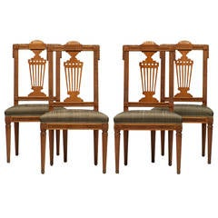 Set of Four German Neoclassical Late 18th Century Side Chairs, David Roentgen