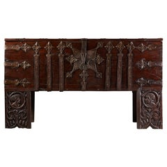 Rare Early Renaissance Wrought Iron Mounted Oak Chest or Stollentruhe