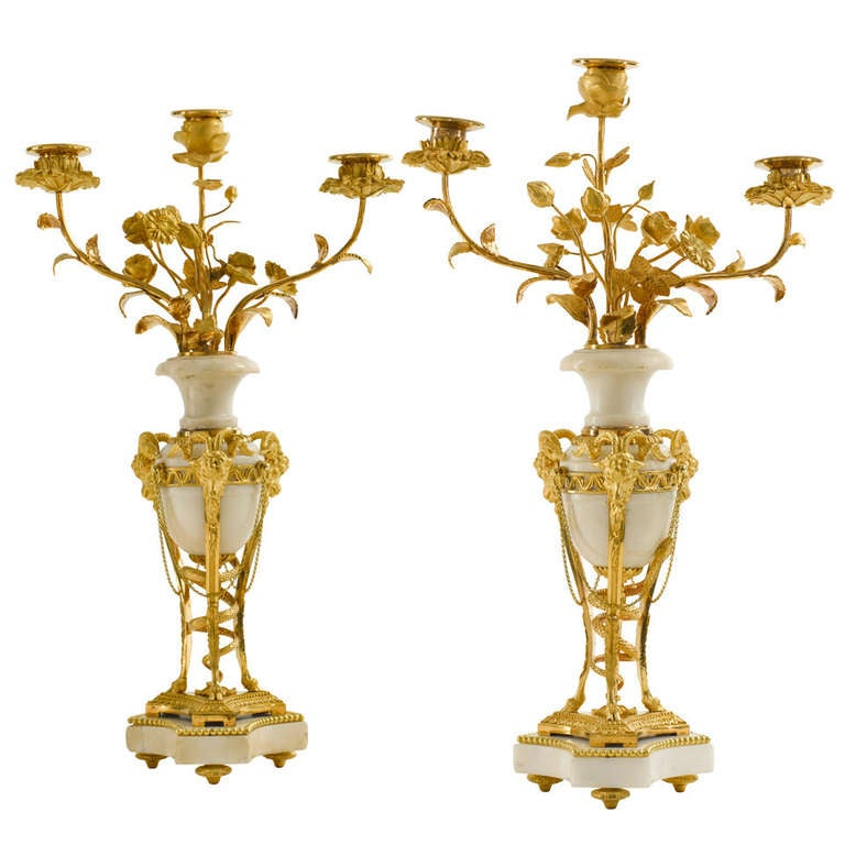 Pair of Late 18th c. Louis XVI Ormolu and White Marble Candelabra