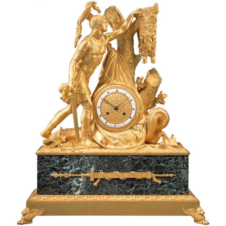 """Rare Early 19th Century Empire Mantel Clock """"Jason with the Golden Fleece"""""""