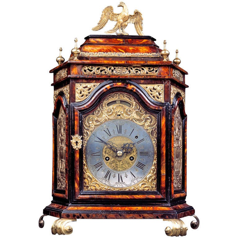 Italian Early 18th Century Baroque Tortoiseshell Table Clock