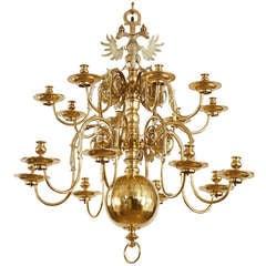 Impressive Dutch Brass Sixteen Light Chandelier