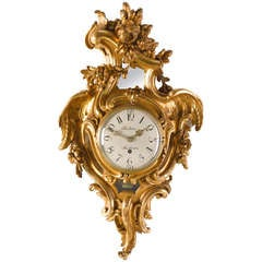 Swedish 18th Century Rococo Carved Giltwood Wall Clock