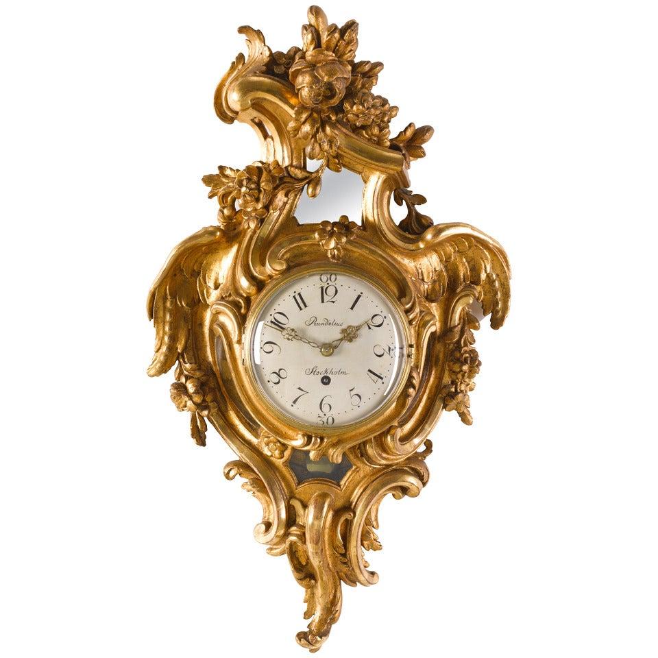 Swedish 18th Century Rococo Carved Giltwood Wall Clock