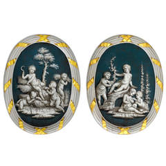 Pair of French 18th Century Oval Grisaille Paintings of Spring and Summer