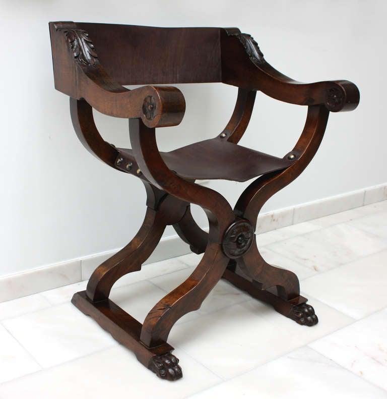 Set Of Six Italian Renaissance Style Walnut Folding Chairs