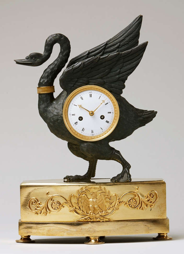 Rare and unusual early 19th c empire ormolu and patinated Unique clocks for sale