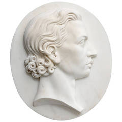 19th Century German Marble Portrait Relief of Friedrich von Schiller