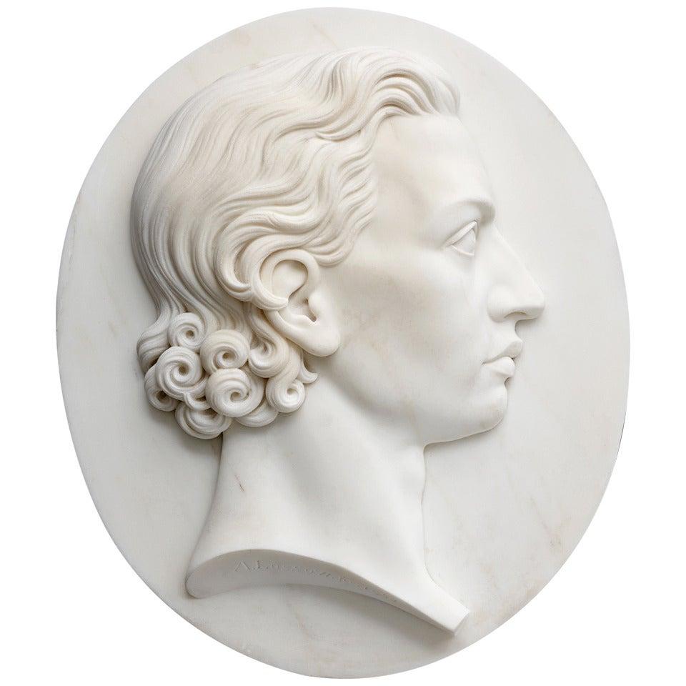 19th Century German Marble Portrait Relief of Friedrich von Schiller