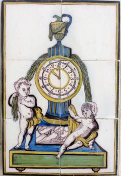 Unusual Late 18th Century Dutch Polychrome Tile Picture of a Clock