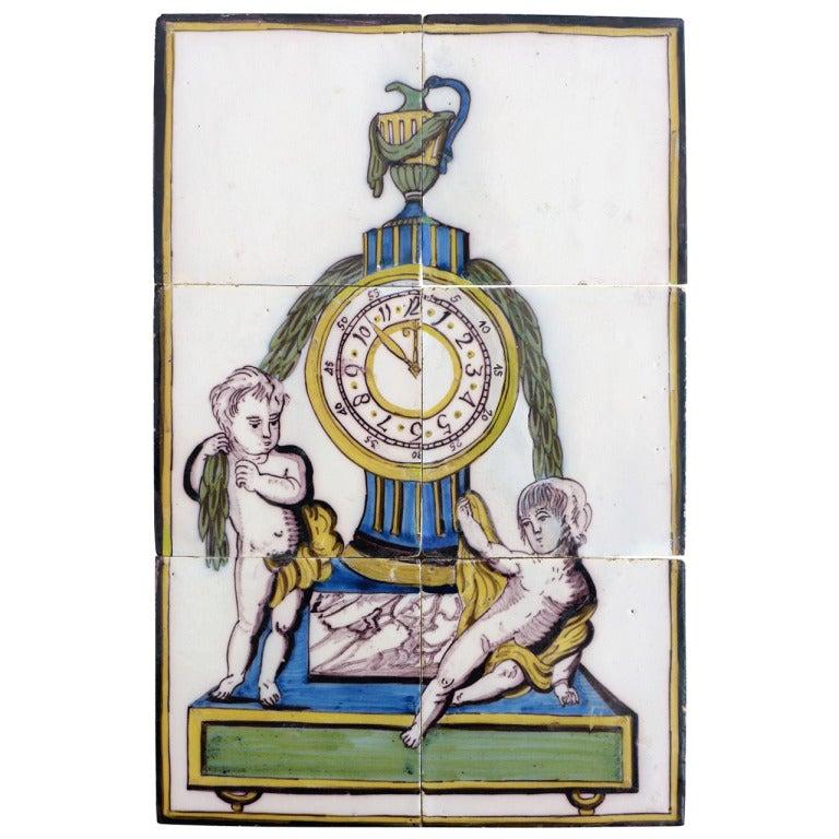 Unusual Late 18th c. Dutch Polychrome Tile Picture Of A Clock