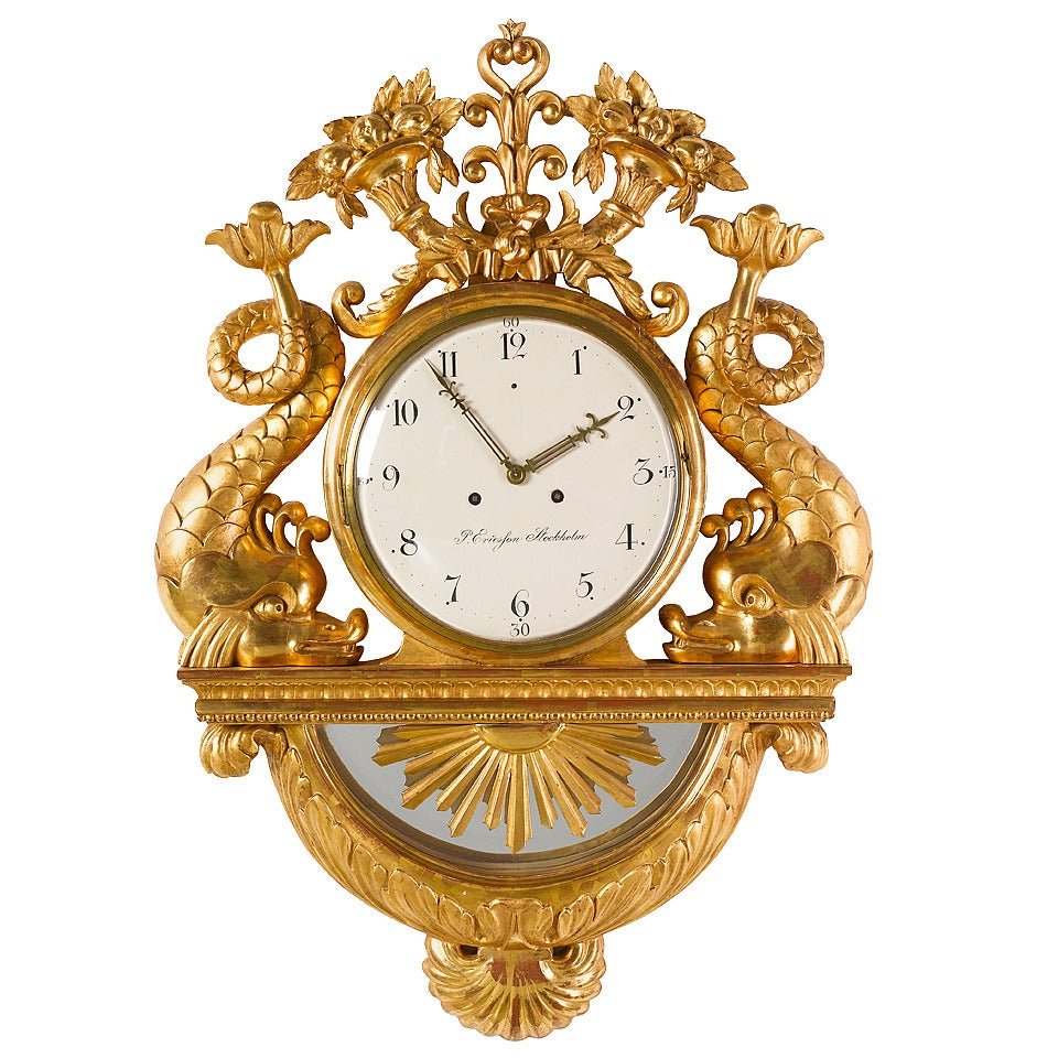 19th Century Swedish Gilded Wall Clock with Dolphins, Signed Ericsson Stockholm