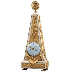 Unusually Large 18th Century Louis XVI Ormolu and Marble Obelisk Mantel Clock
