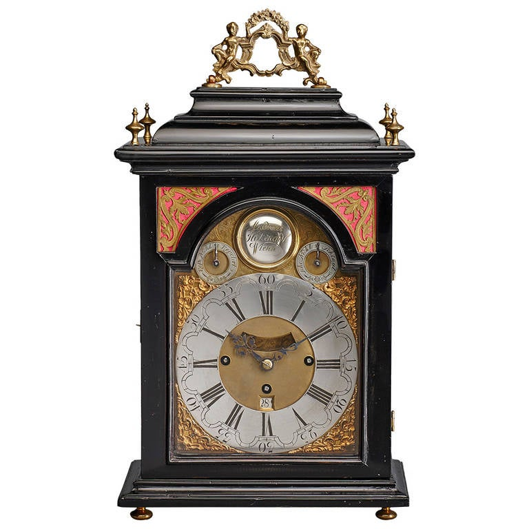 Austrian 18th Century Baroque Period Bracket Clock, Signed Andreas Hohenadl