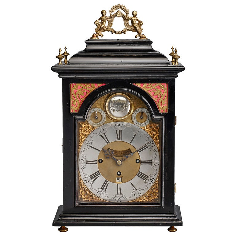 Austrian 18th Century Baroque Period Bracket Clock, Signed Andreas Hohenadl For Sale