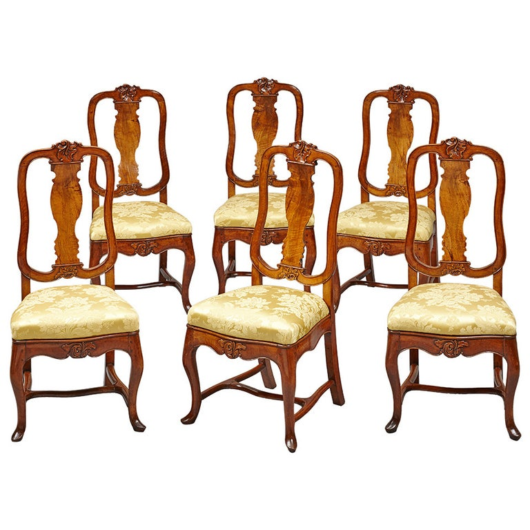 Set of Six 18th Century German Baroque Walnut Dining Chairs For Sale