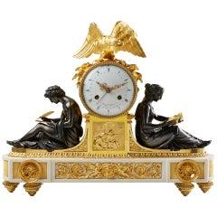 Spätes 18. Jahrhundert, Seltene Klassizistische Louis XVI Goldbronze Kaminuhr