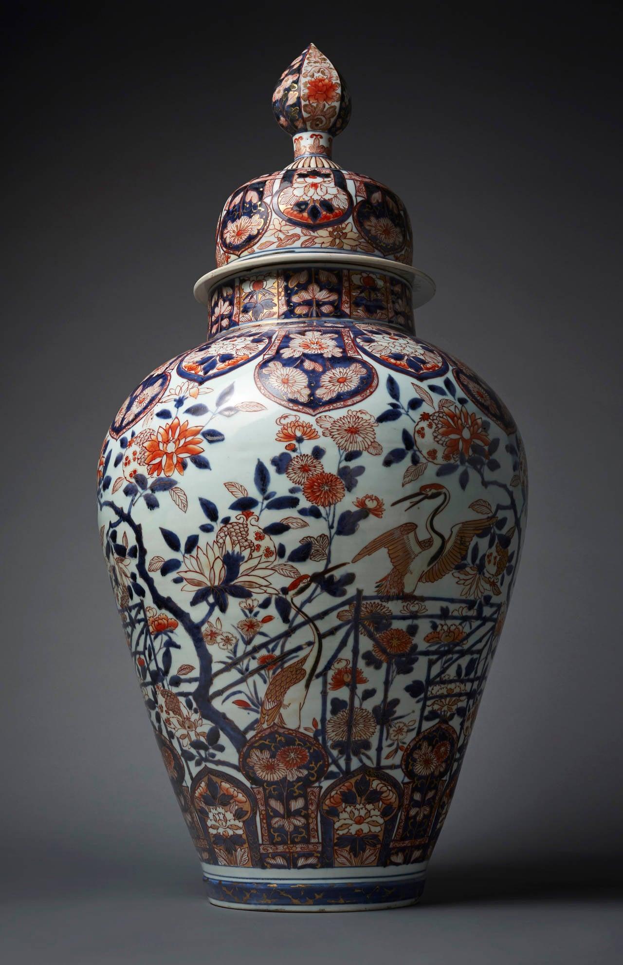 Monumental Imari Vase And Cover Japan Arita Edo Period