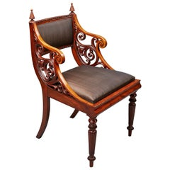 Unusual Early 19th Century Danish Mahogany Armchair Attributed to Hetsch