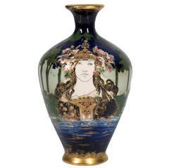 """Riessner, Stellmacher and Kessel """"Amphora"""" Vase Flora circa 1892"""