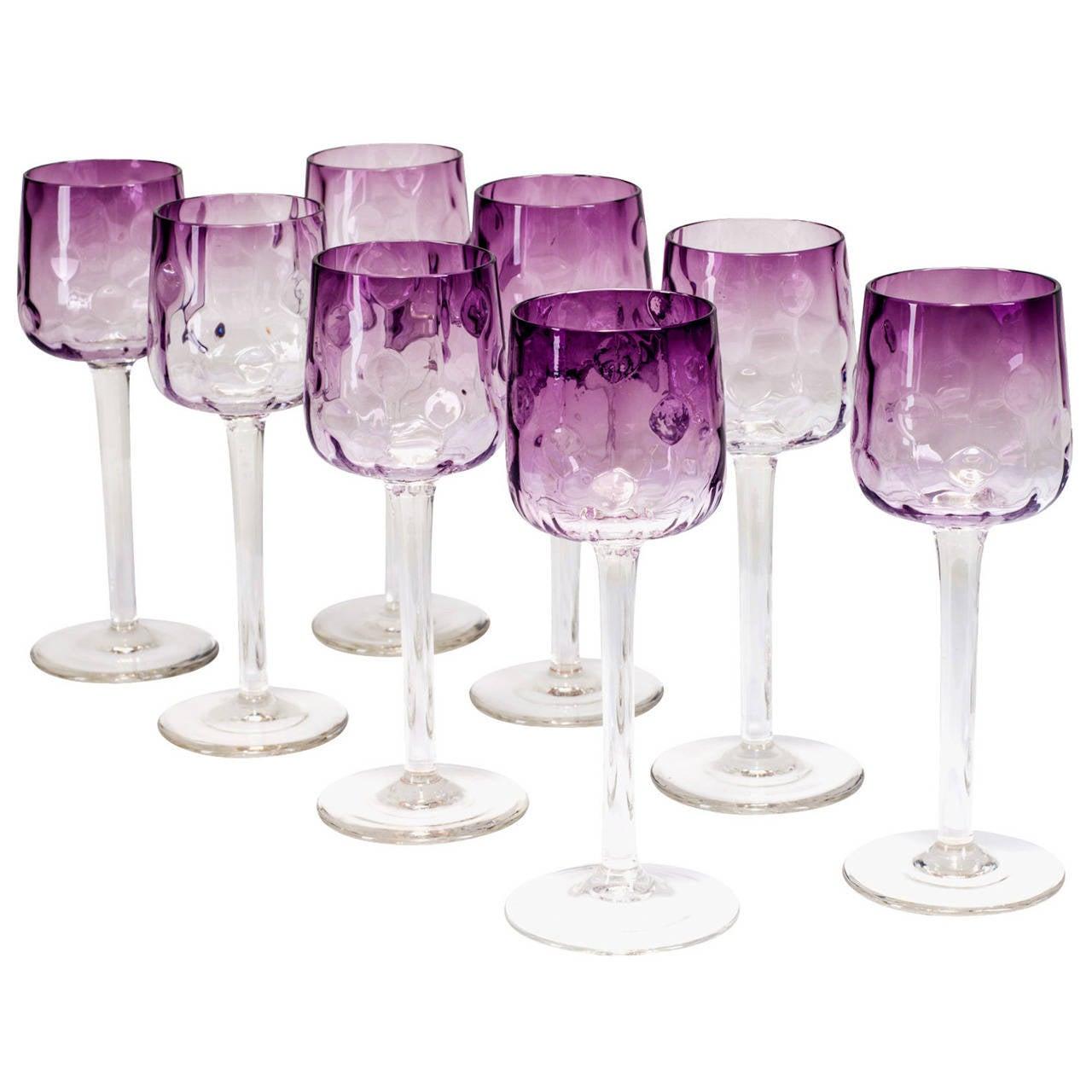 "Koloman Moser Nine wine glasses ""Meteor"" ca. 1900 For Sale"