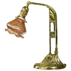 Loetz Desklamp, brass, iridescent glass, ca 1901 Phenomen Gre 1/104