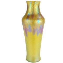 "Loetz Yellow Vase with ""Phenomen Gre 3/430"" Decoration, circa 1903 Vienna"