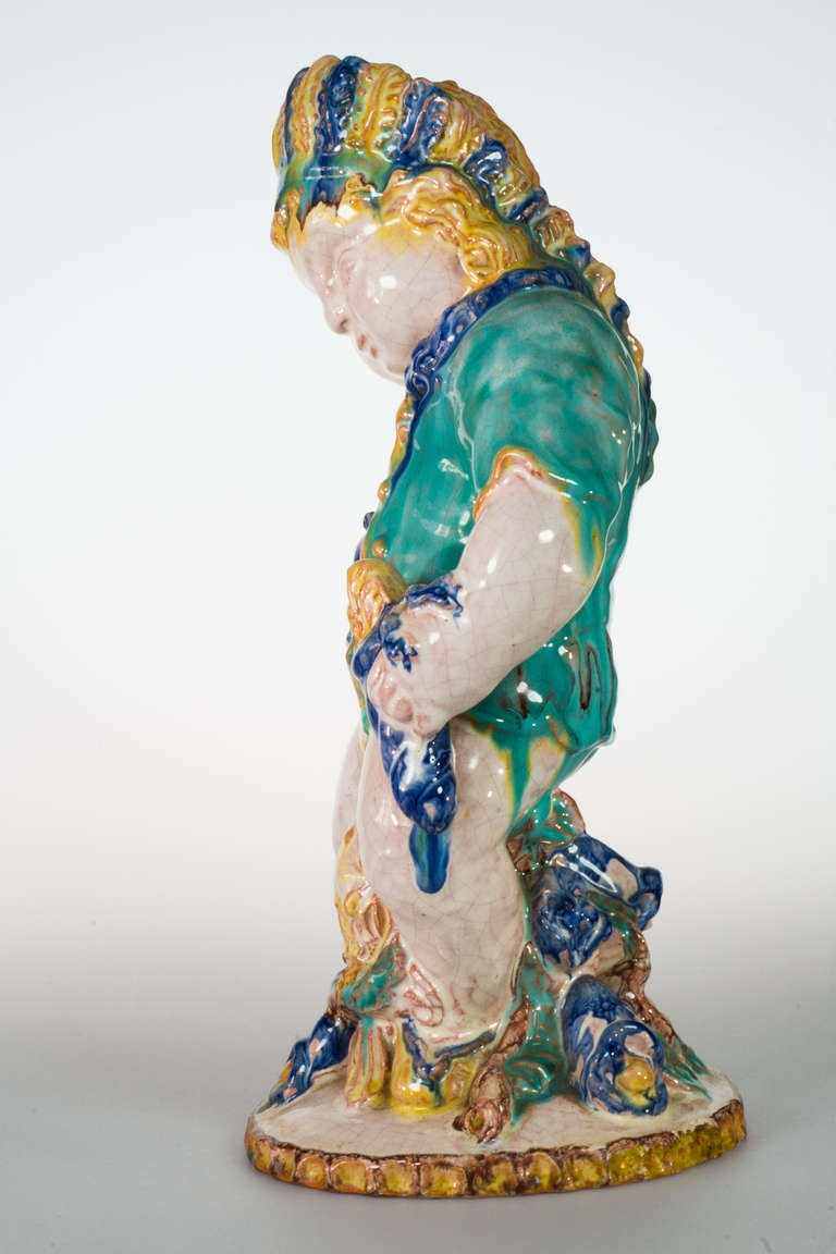 Austrian Michael Powolny Native American Putto by Sommerhuber-Steyr, circa 1925 For Sale