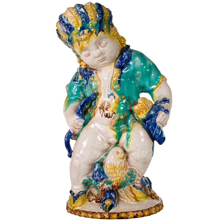 Michael Powolny Native American Putto by Sommerhuber-Steyr, circa 1925 For Sale
