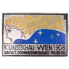 Viennese Arts and Crafts Enameled Plaque, Silver Gilded Copper, circa 1908