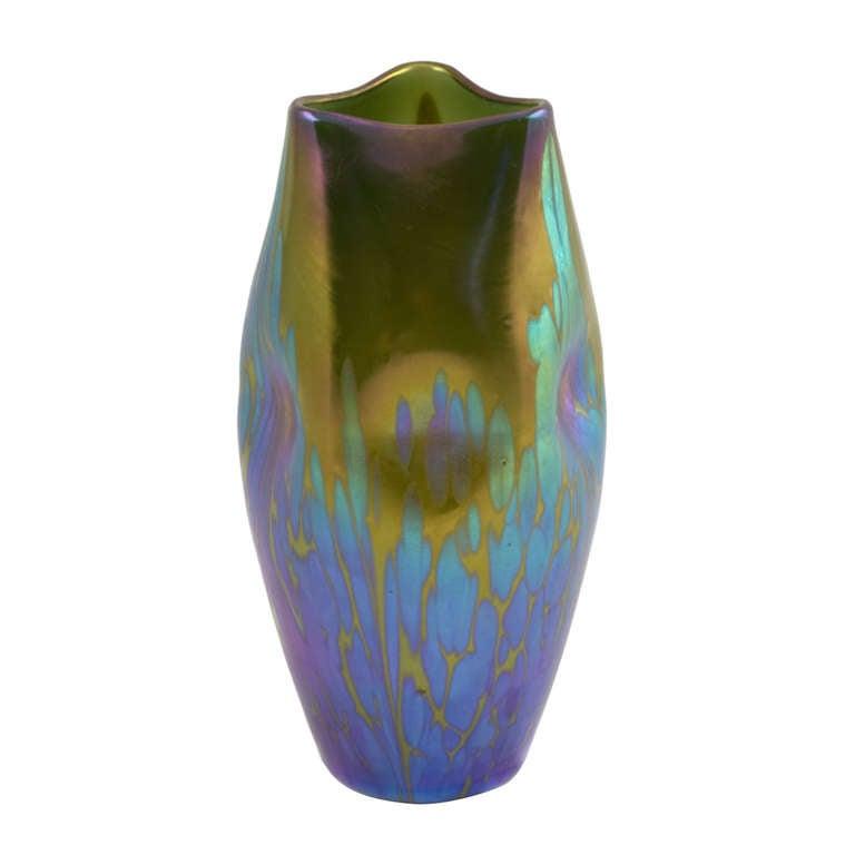 Green Golden Loetz Vase With Medici Decor For Sale At 1stdibs