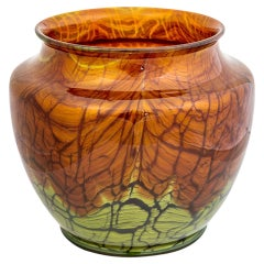 Austrian Jugendstil Loetz Large Vase Mouth-blown Glass circa 1913 Brown Green