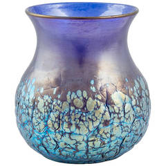 Cobalt Phenomen Gre 377 crackled signed vase Loetz ca. 1900