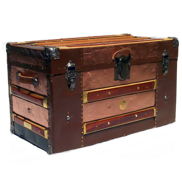 Antique Trunk In Pressed Tin At 1stdibs