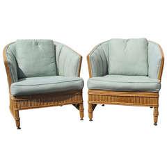 Pair Rattan Chairs