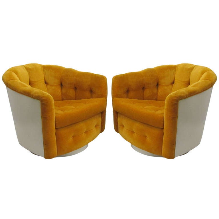 Milo baughman for thayer coggin pair of swivel chairs at 1stdibs