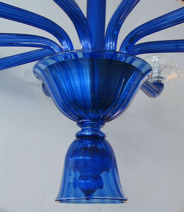 Murano Cobalt Blue Chandelier At 1stdibs
