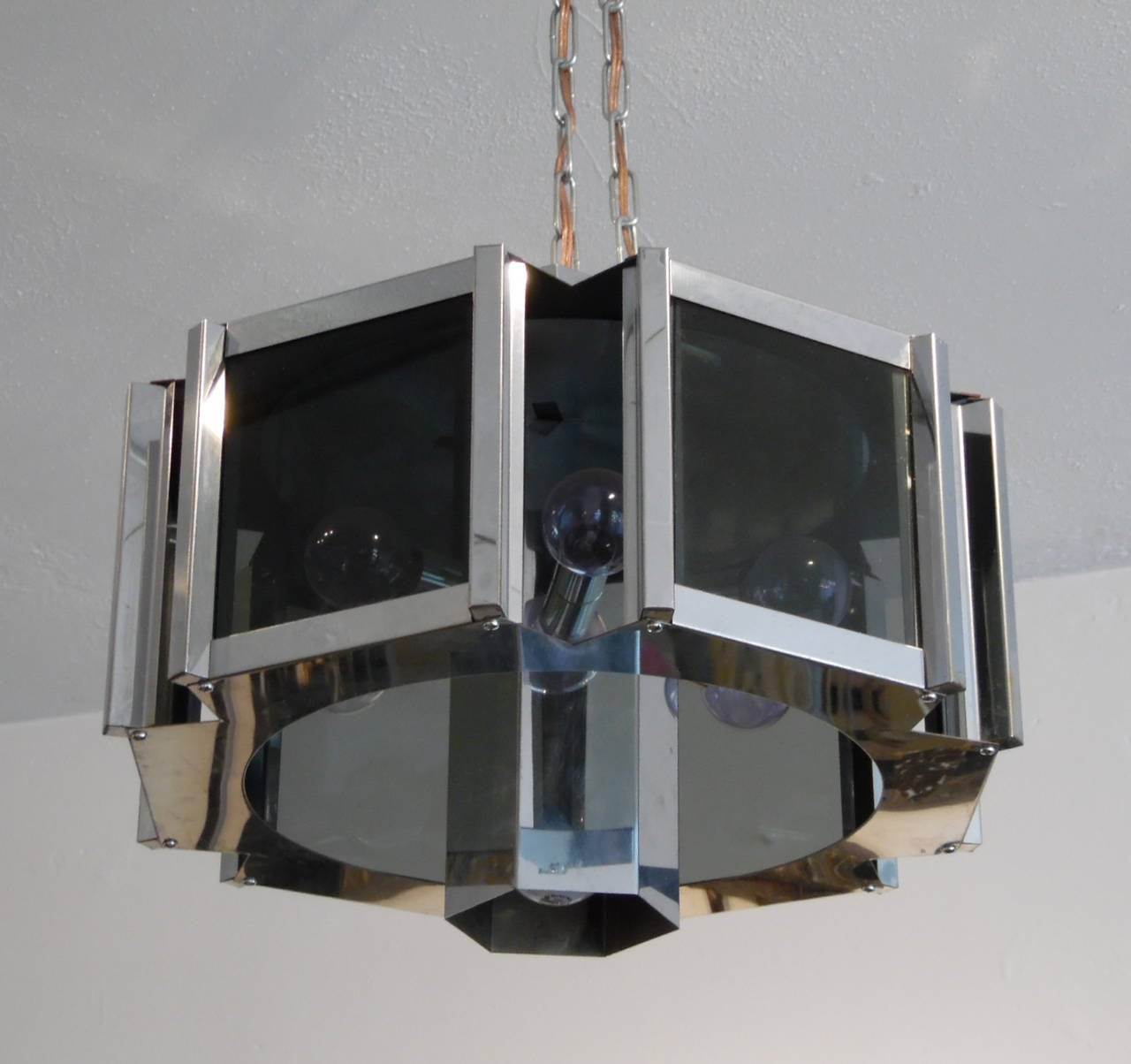 Mid-Century Modern Modernist Chrome and Smoked Glass Chandelier by Robert Sonneman For Sale