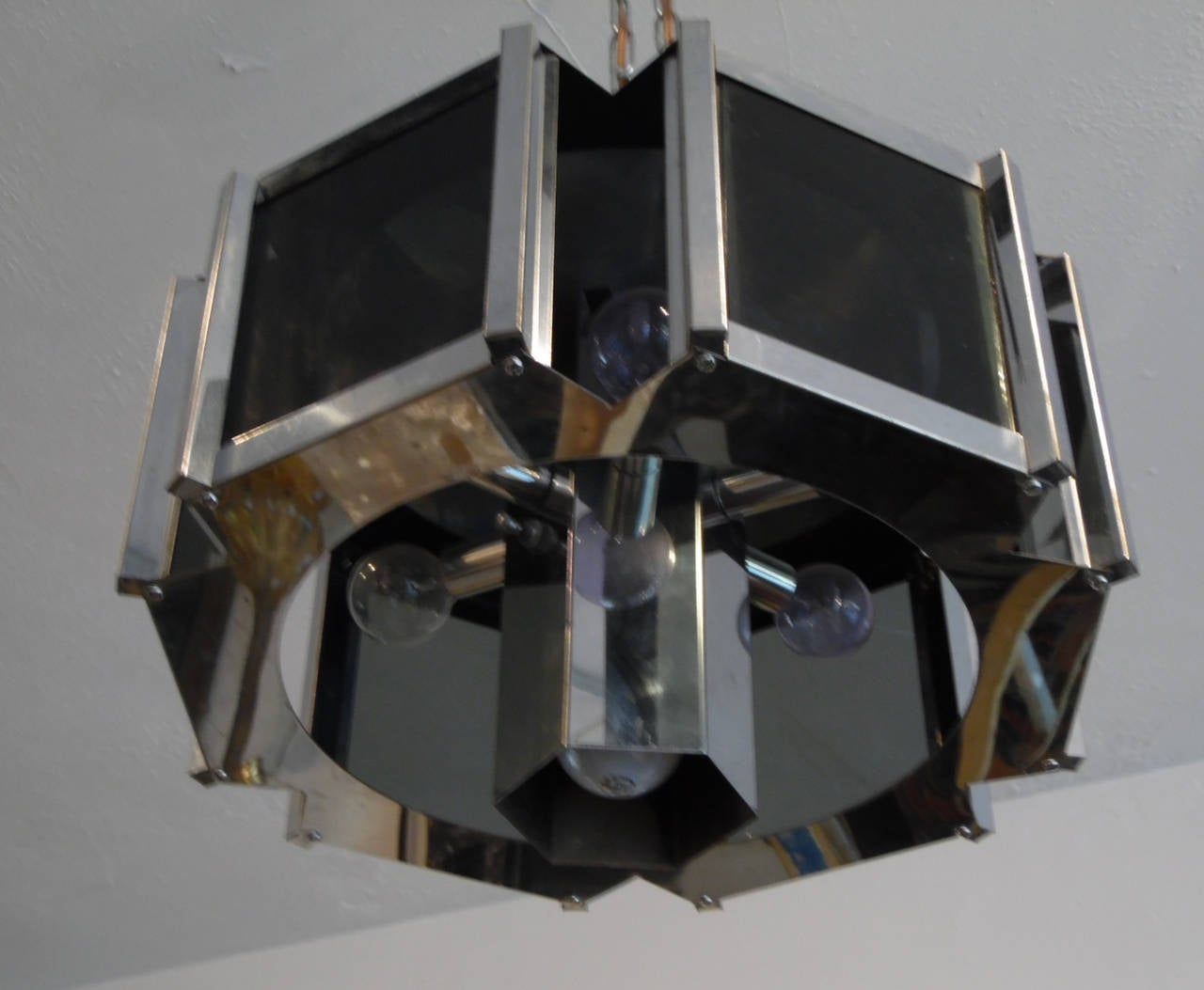 American Modernist Chrome and Smoked Glass Chandelier by Robert Sonneman For Sale