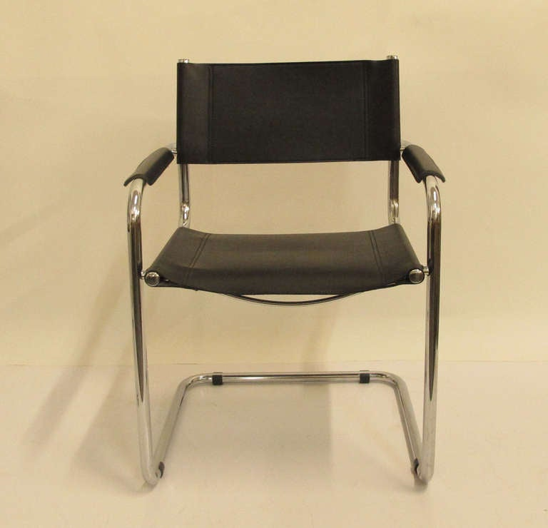 Genial Mid Century Modern Four Leather And Chrome Dining Chairs By Mart Stam For  Sale