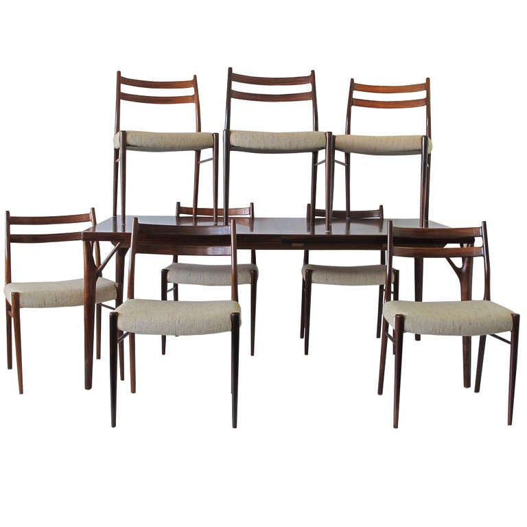 Rosewood Dining Table 8 Chairs style of Helge Vestergaard  : IMG3634l from www.1stdibs.com size 768 x 768 jpeg 43kB