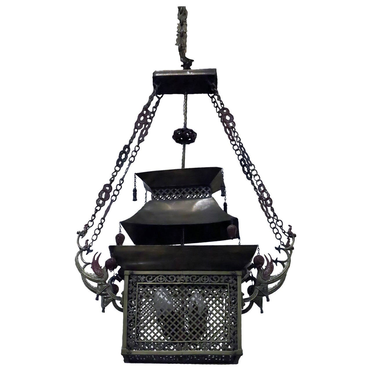 Pagoda Style Asian Bronze Lantern For Sale At 1stdibs