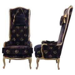 Pair of Graceful High Back Lounge Chairs