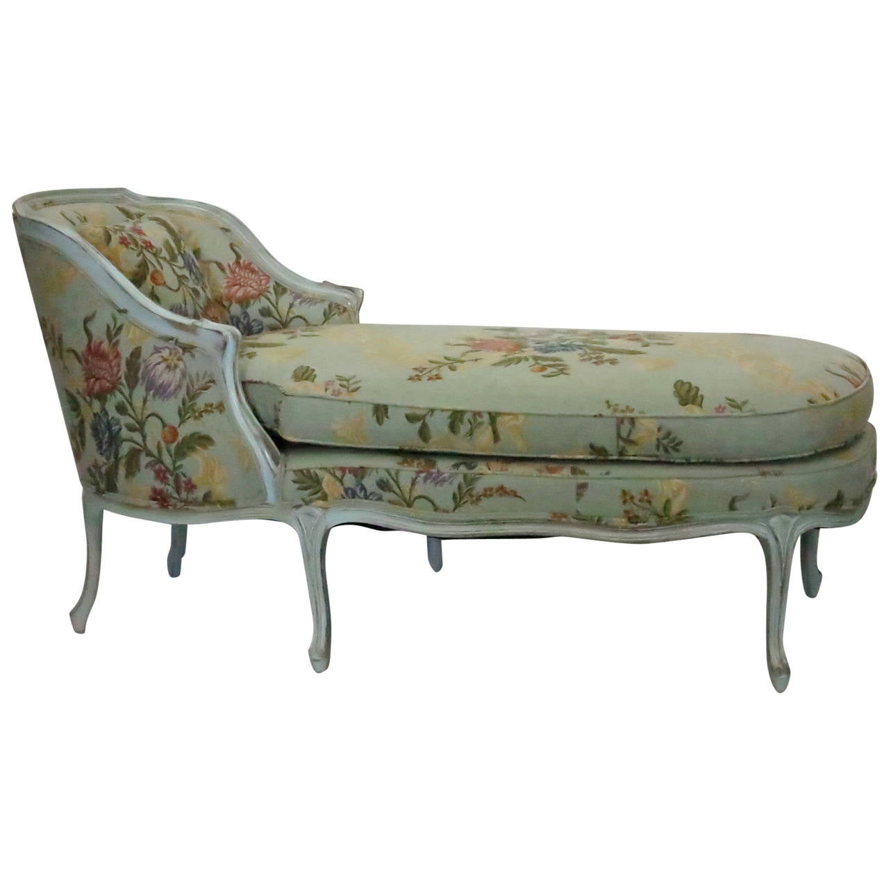 Floral Pattern Chaise Lounge at 1stdibs