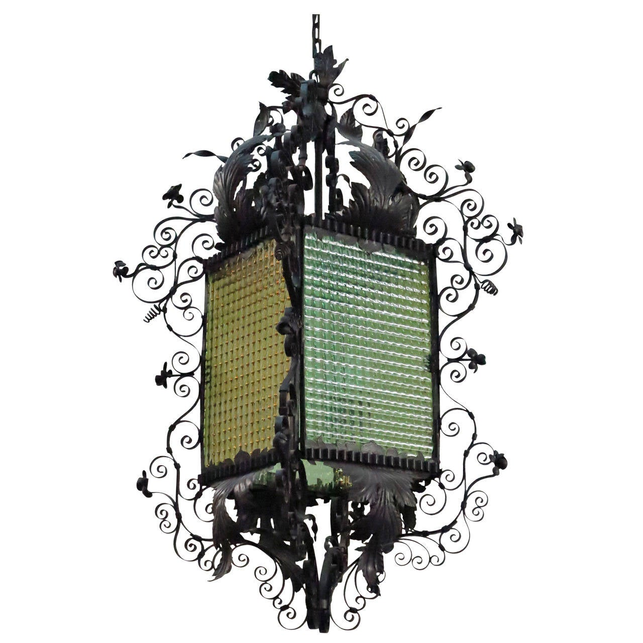 19th Century Continental Wrought Iron Lantern