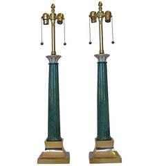 Pair Marbro  Ceramic & Brass Lamps