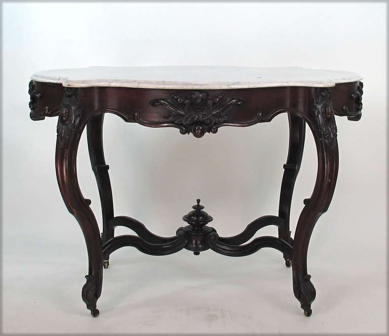 High Quality Victorian Rosewood Marble Turtle Top Parlor Table 2